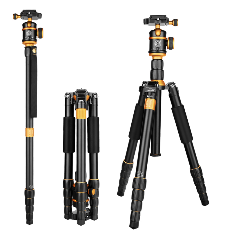 QZSD Q888 Pro Aluminum Alloy Monopod Tripod Portable Detachable Traveling Tripods Ball Head for Canon Nikon DSLR Camera Tripe dhl free 2017 new professional tripod qzsd q999 aluminium alloy camera video tripod monopod for canon nikon sony dslr cameras