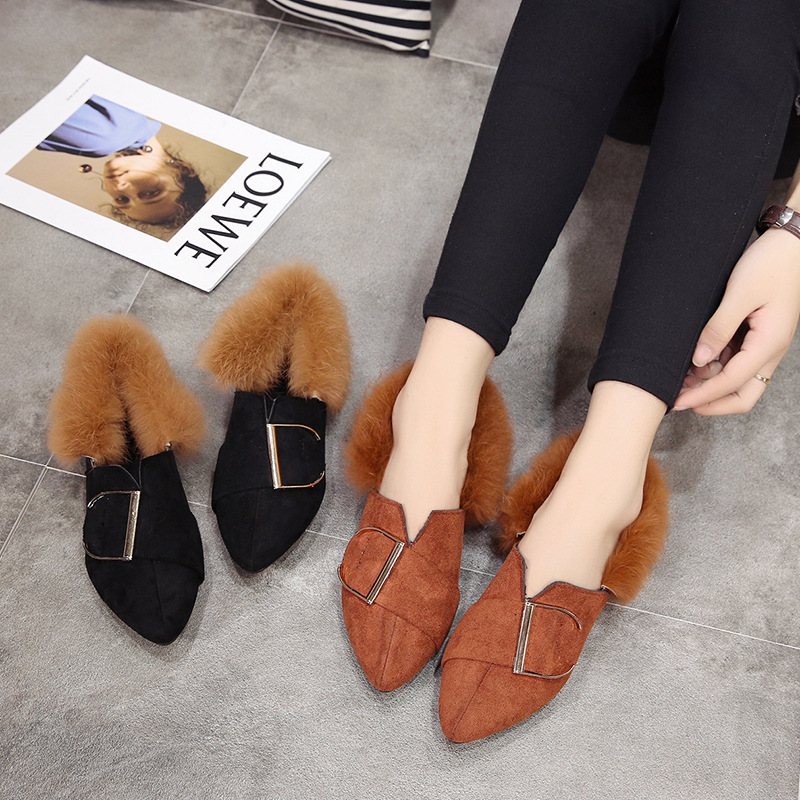 England Style Black Warm Plush Lady Shoes Women Fashion Comfortable Slip on Students Buckle Shoes Gilrs Shoes Size Size 35-40
