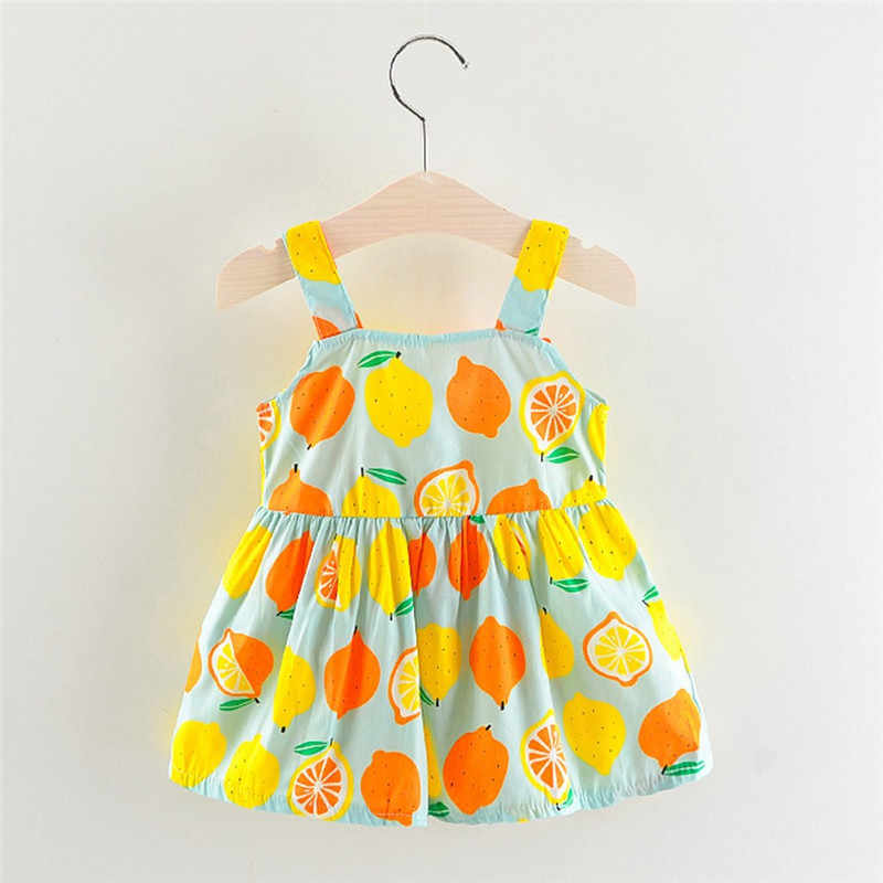 25f1b0e7110aa Newborn Toddler Baby Girls Lemon Print Strap Princess Party Casual Dress  Clothes girl dresses kids casual vestidos infantil #sg