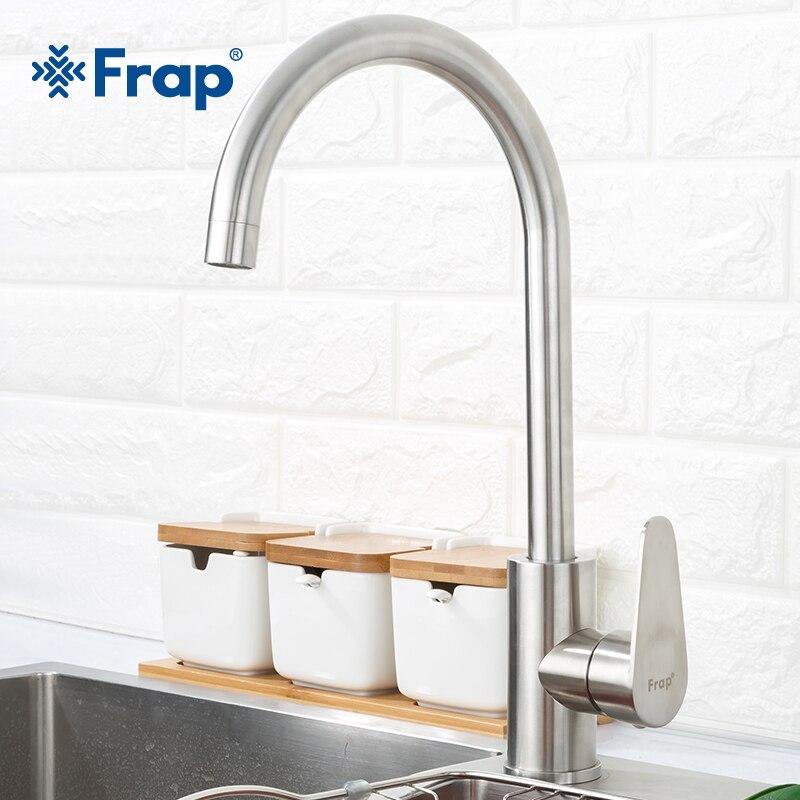 Frap 304 edelstahl Einzigen Griff Einzigen Loch Küche Wasserhahn Mischer Waschbecken Wasserhahn Küche Wasserhahn Moderne Heiße und Kalte Wasser f4048