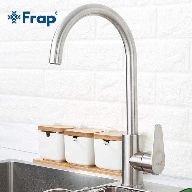Frap 304 нержавеющая сталь одной ручкой одно отверстие кухня кран смесители раковина кран современный горячей и холодной воды F4048