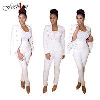 2017 Spring Autumn White Sexy Blazer Set Trouser For Women Casual Slim Deep V Neck 2