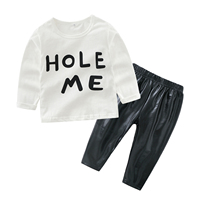 Baby Girl Boy Outfit Causal Korean Long Sleeve Kid Tee Tops Letter TShirt Striped Trousers 2pcs Toddler Set Black Leather Pants