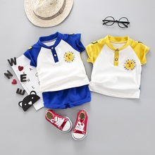 Newly 2PCS/SET Summer Baby Boys Casual Short Sleeve Cotton Shirt Tops O-neck Blouse T-shirt+Shorts Set Children Outfits Sets