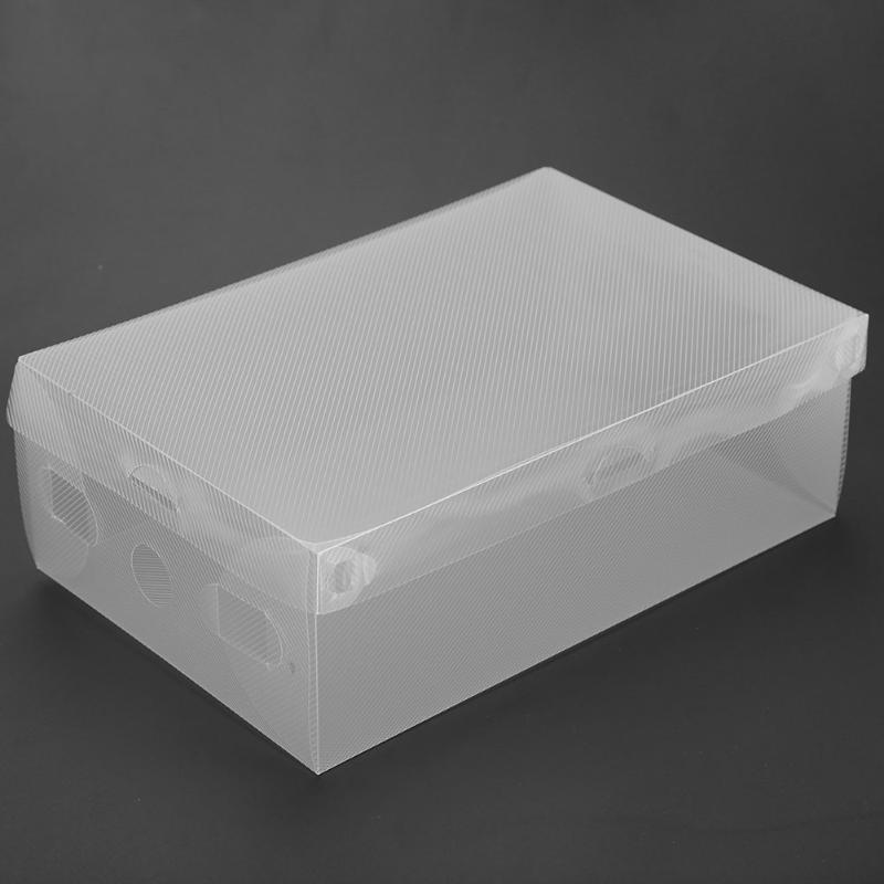 10pcs Plastic Shoe Box Transparent Clear Storage Boxes Foldable Shoes Case Holder Shoes Organizer Cases Boxes