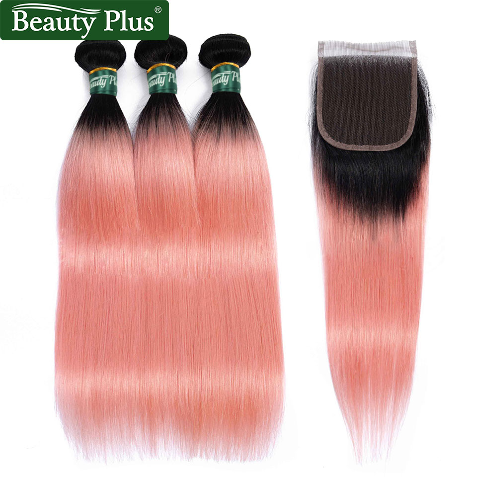 Rose Pink Human Hair Bundles With Closure Beauty Plus Remy Hair Dark Roots Ombre Brazilian Straight