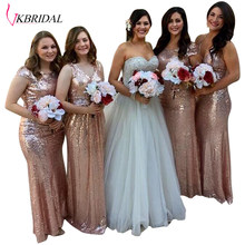 VKBRIDAL Gold Bridesmaid Dresses Long For Wedding Party Cap Sleeve Sequins  Long Gold Sequins Dress Vestido De Dama De Honra 7984ccabc2d2