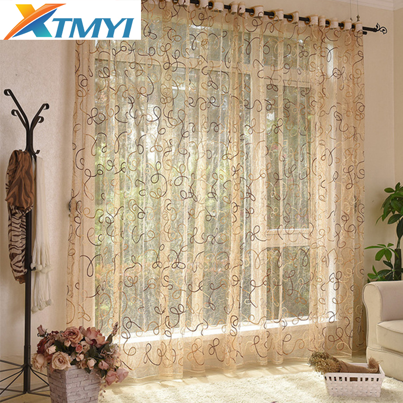 European style brown cafe kitchen curtains treatments tulle Cortina door tulle curtain window flower kids bedroom