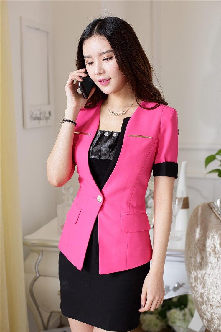 Spring Summer Formal Uniform Design Office Suits Jackets And Skirt For Business Women Blazers Clothing Outfits Set Short Sleeve En Trajes De Falda Moda Y