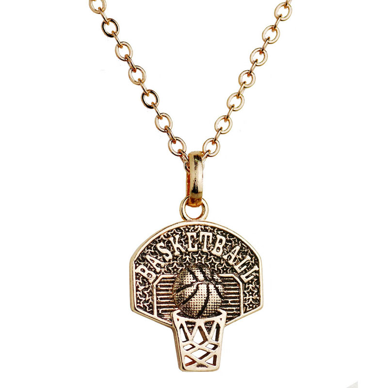 Basketball Hoop Charm Necklace Sport Pendant Necklace Gold Color Personalized Basketball Necklace Women Basketball Fan Jewelry