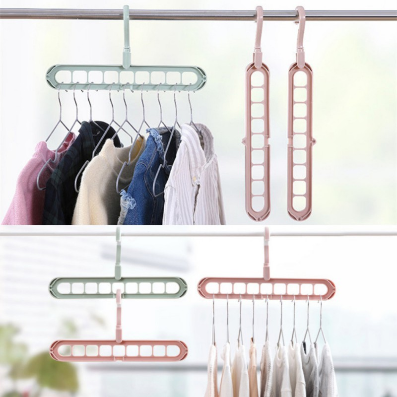Rotatable Indoor Hanger Rack Green Plastic Hook Garment