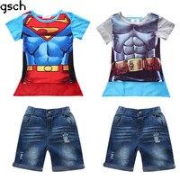 幼児男の子服セットファッション子供コスプレ衣装半袖tシャツ+ショートパンツコットンスーパーマン子供スーツvetementギャルソ