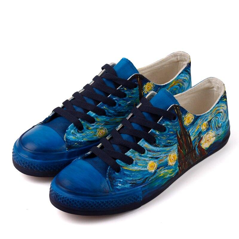 女性のキャンバスカジュアルシューズオリジナルデザインゴッホの有名な手塗装カット 2019 ファッション DIY レースレースアップスニーカーフラットブルー  グループ上の 靴 からの レディースヴァルカナイズシューズ の中 1
