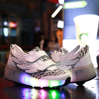 Men And Women Adult Children Glowing Shoes Colorful LED Lights Roller Skate Walking Shoes Automatic Flash