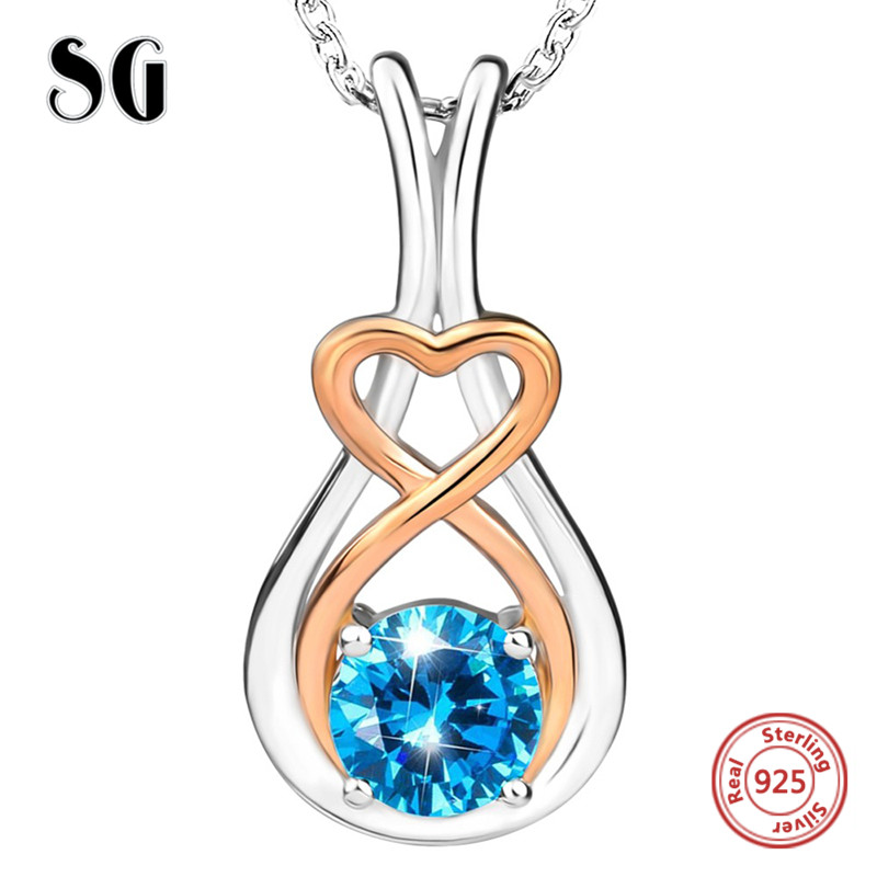 100 925 sterling silver Luxury love heart Infinite pendant chain necklace with Zirconia diy fashion jewelry making women gifts in Chain Necklaces from Jewelry Accessories