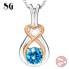 100% 925 sterling silver Luxury love heart Infinite pendant chain necklace with Zirconia diy fashion jewelry making women gifts strollgirl infinite love angle heart 925 sterling silver chain pendant necklace fashion jewelry necklaces