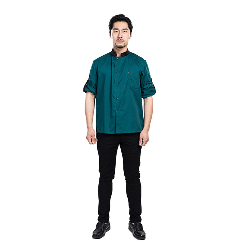 2019 New High Quality Chef Uniforms Clothing Half Sleeve Men Food Services Cooking Clothes Red Green Uniform Chef Jackets