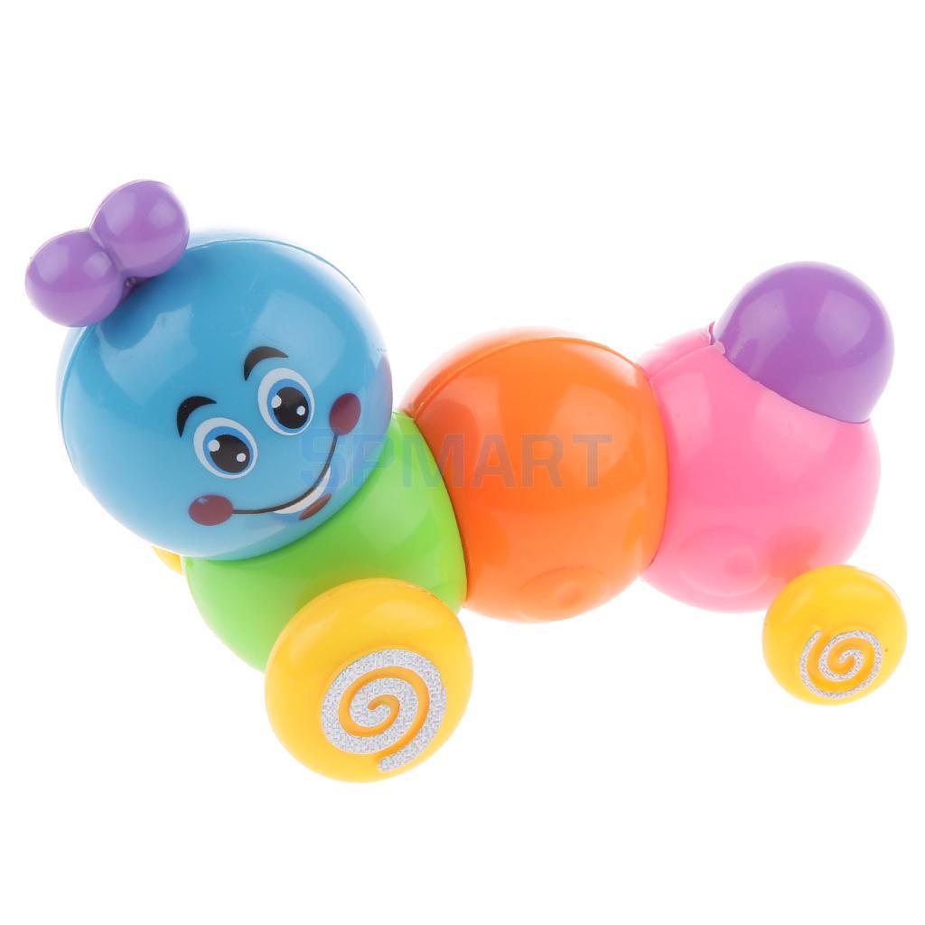 Mini Rainbow Coloured Cutworm Worm Wind Up Toy for Kids Play Plastic Clockwork Toy Preschool Fun