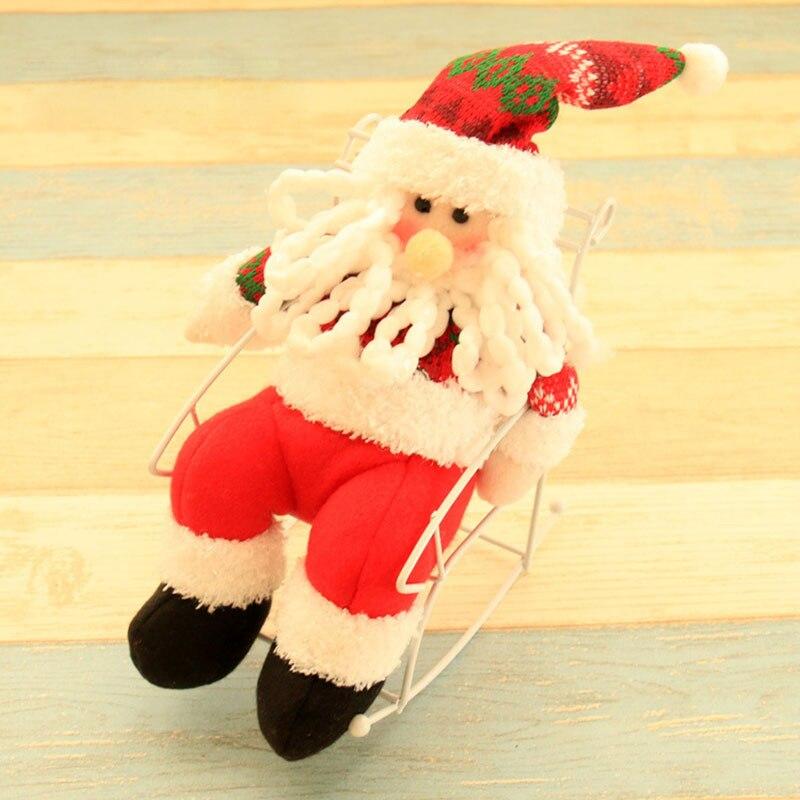 1 UNID Hecho A Mano Muñeca de Navidad Santa Claus Muñeco de Nieve Sentado Silla