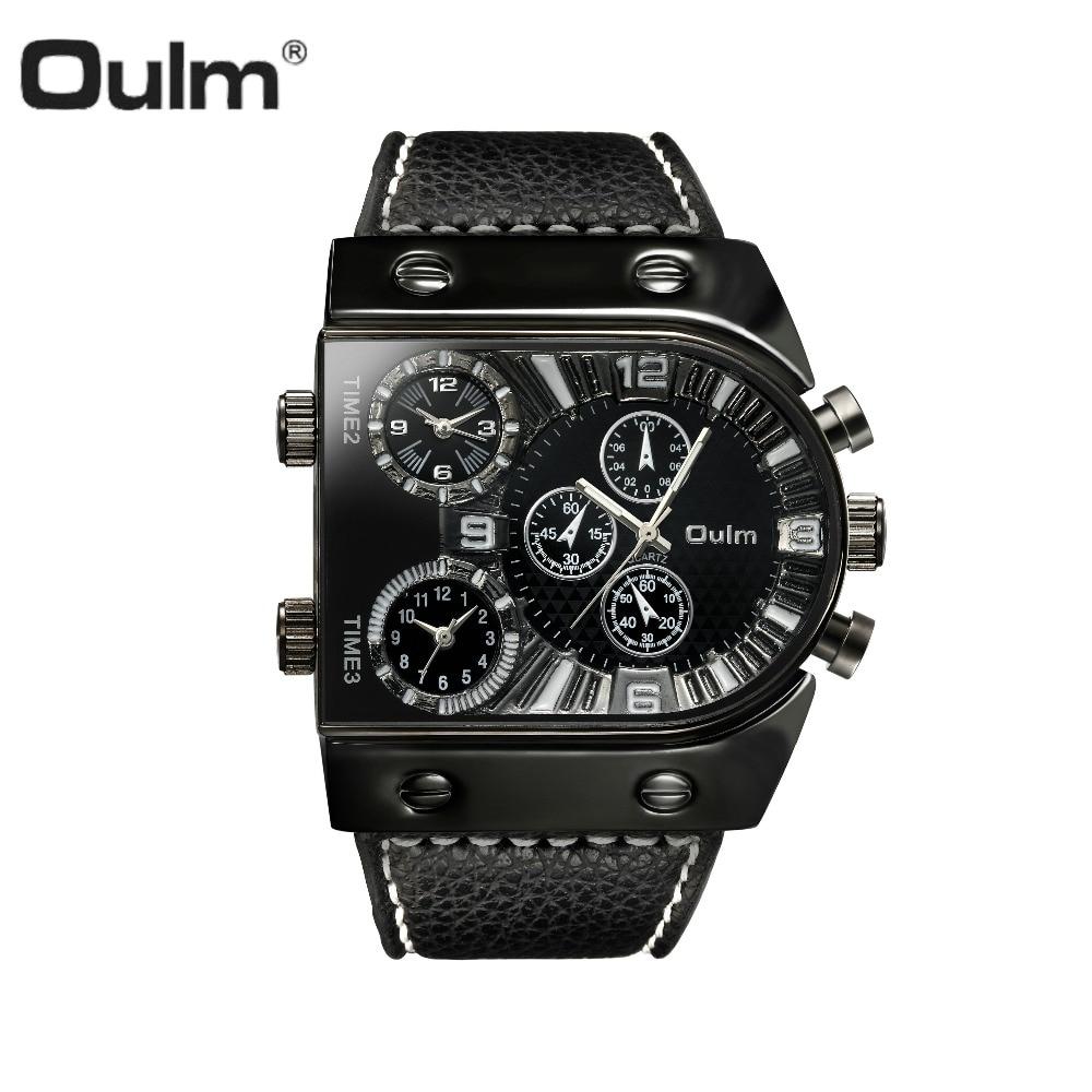 OULM Sportuhr Männer Quarz Analog Clock 3 Zeitzone hilfszifferblätter Design Große fall Oversize Fashion Schwarz Handgelenk uhren relogio