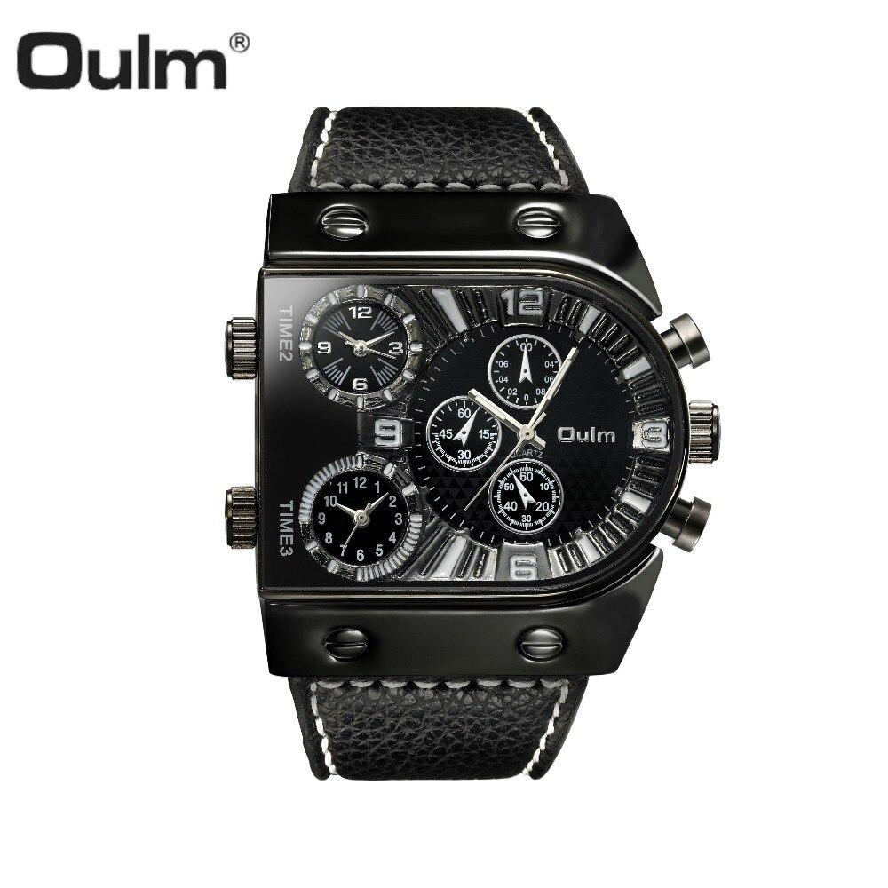 Oulm deporte reloj hombres cuarzo analógico reloj 3 zona horaria sub-Marca Diseño caso grande oversize moda negro muñeca relojes Relogio