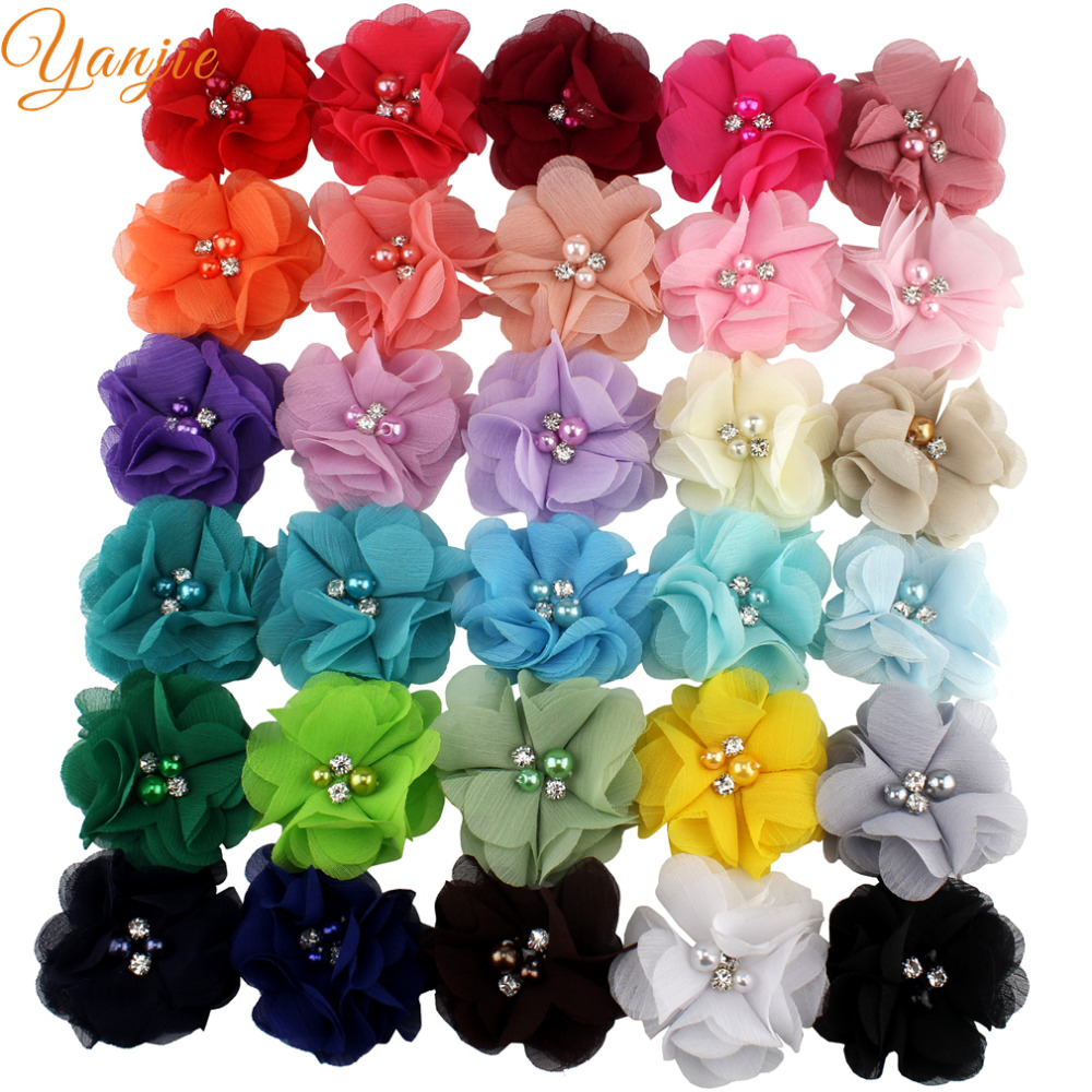 "30pcs/lot 2"" Chiffon Flowers For Girls Headbands Kids Mini Solid Shabby Chiffon Flower Hair Clips For Women Hair Accessories"