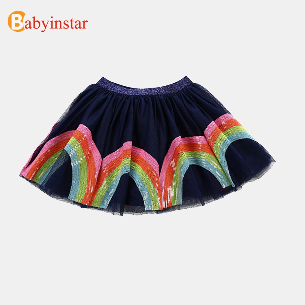 Babyinstar niñas faldas 2018 moda Arco Iris Tutu falda niños traje chica princesa Baby Girl ropa niño niños ropa