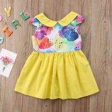 2018 Summer Cute Toddler Baby Girls Princess Sleeveless Dress Pageant Party  Wedding Tutu Peter Pan Collar Dressy Clothes 6c2384ac5ca9