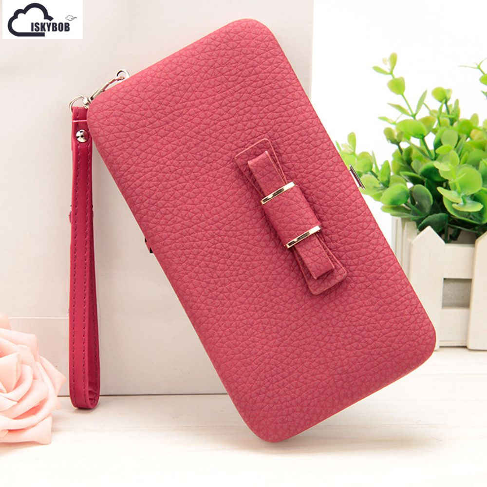 Fashionable Women Bowknot Wallet Long Purse Phone Card