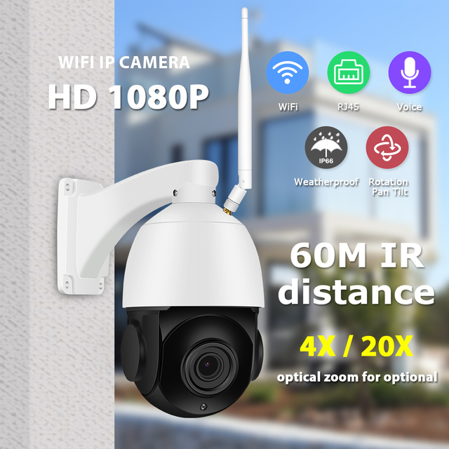 Zoohi PTZ Wireless Camera Outdoor IP Camera Two Way Audio 1080p Rotatable Dome 20X Survellance Security Cameras WIFI 2MP IR 4X
