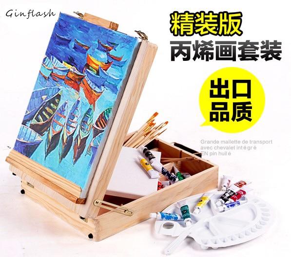 Filet bureau ordinateur portable boîte chevalet peinture matériel accessoires multifonctionnel peinture valise Art fournitures pour artiste ACT003