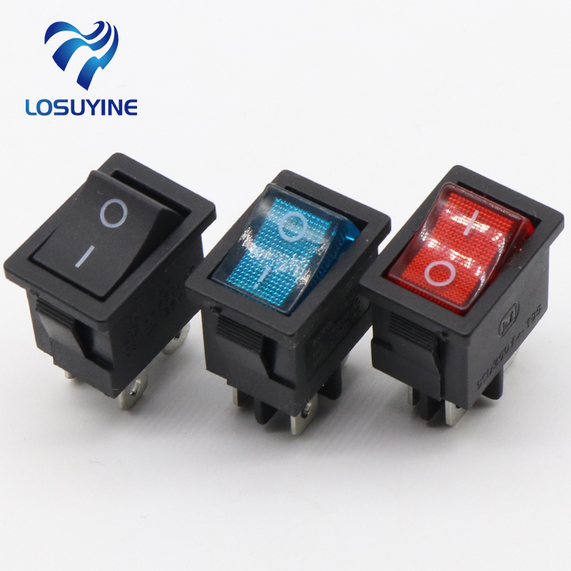 5pcs/lot 15*21mm LED Light SPST 4PIN ON/OFF G121 Boat Rocker Switch 6A/250V 10A/125V Car Dash Dashboard Truck RV ATV Home kcd1 on off 4pin boat car rocker switch 6a 10a 250v 125v ac red yellow green blue button best price