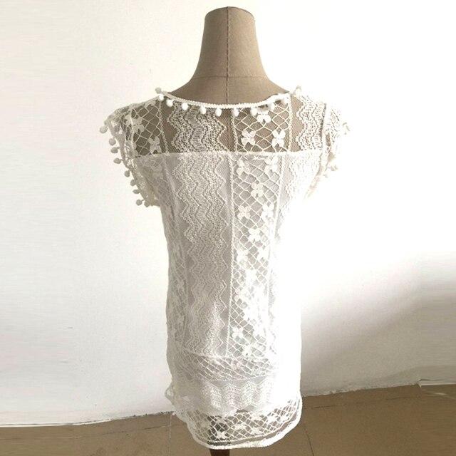Hot Summer Dress 2017 Sexy Women Casual Sleeveless Beach Short Dress Tassel Solid White Mini Lace Dress Vestidos Plus Size