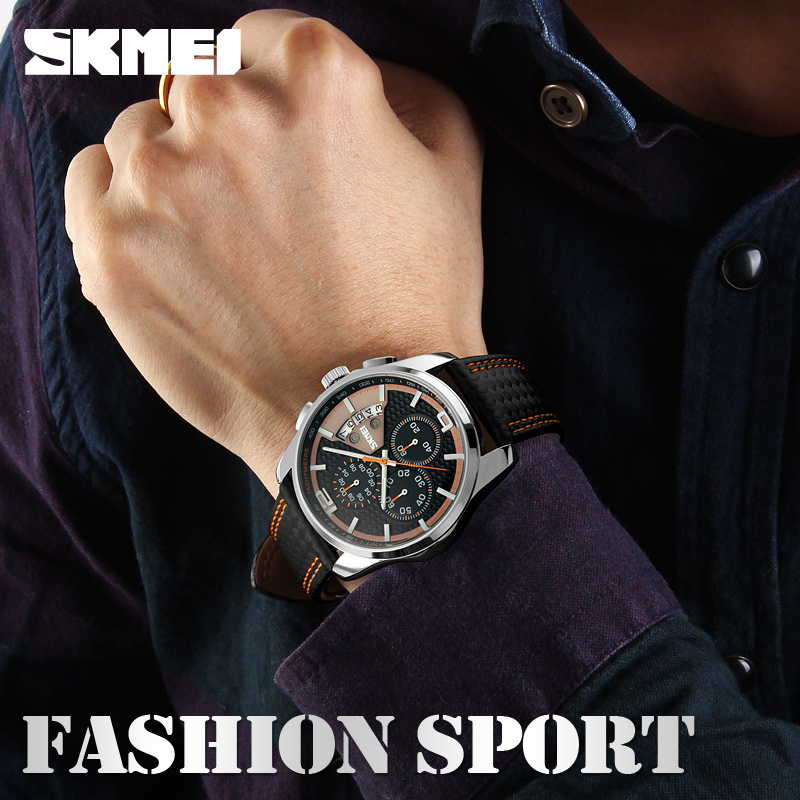 af1cbf0a9 SKMEI Outdoor Sports Quartz Watches Men Top Luxury Brand Chronograph Leather  Waterproof Wristwatches Relogio Masculino 9106-in Quartz Watches from  Watches ...