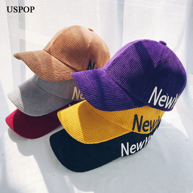USPOP 2019 hot women corduroy   baseball     caps   spring embroidery letter   baseball     cap   women men casual visor   caps