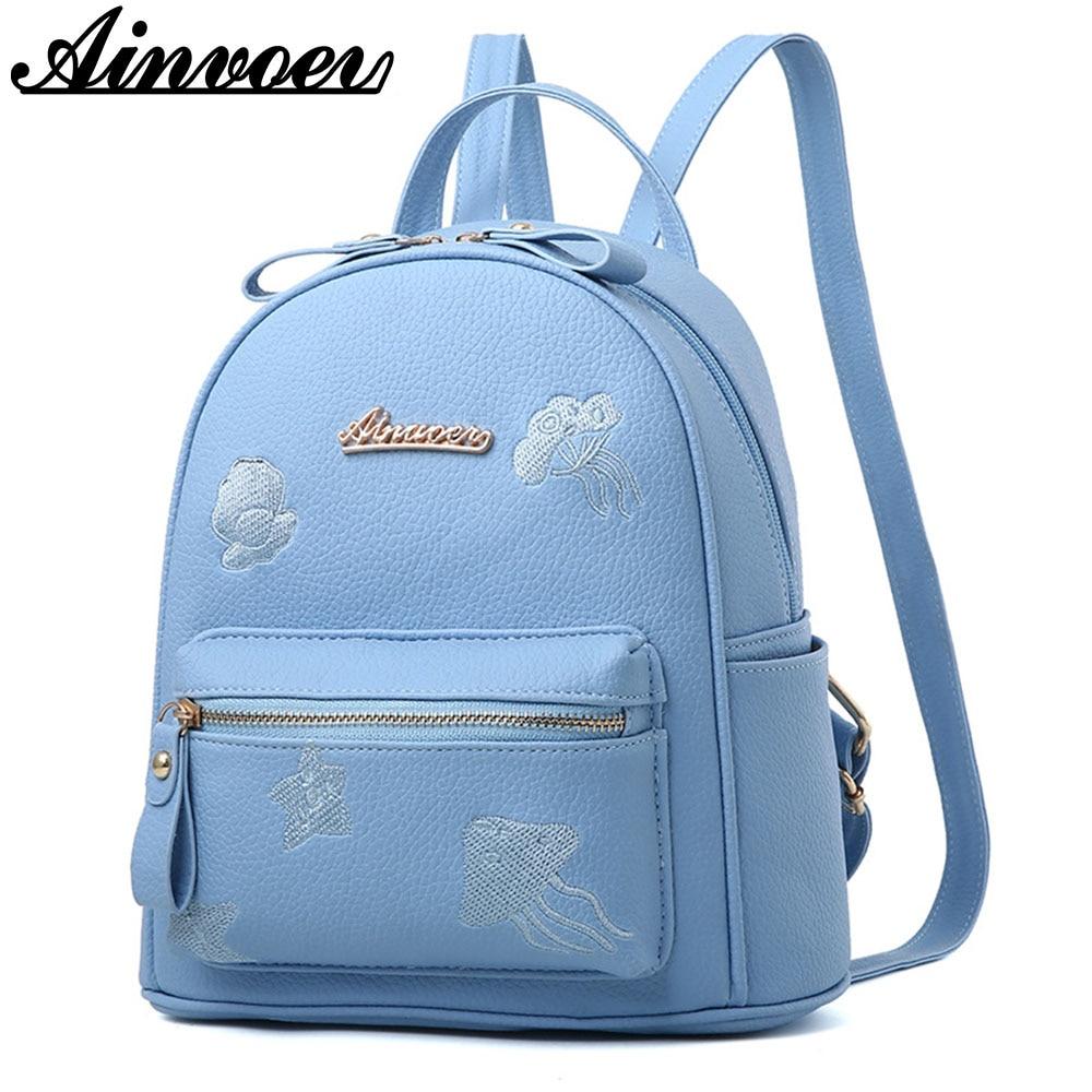 Ainvoev Mini Women's backpacks PU Leather fashion travel backpacks for teenage girls school mochila satchel рюкзаки zipit рюкзак shell backpacks