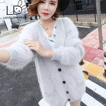 LOVELYDONKEYPure mink cashmere cardigan sweater ladies real mink cashmere coat 100% cashmere sweater free delivery m463