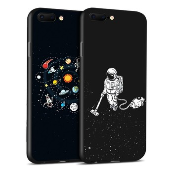 Funny Love Heart Couple TPU Silicone Phone Case for iphone X 6 7 8 Plus XR XS Max Cartoon Planet Pattern Frosted Back Shell