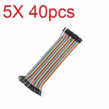 Free shipping 5X40pcs 20cm Male to Female Color Breadboard Cable Jump Wire Jumper For RC Models