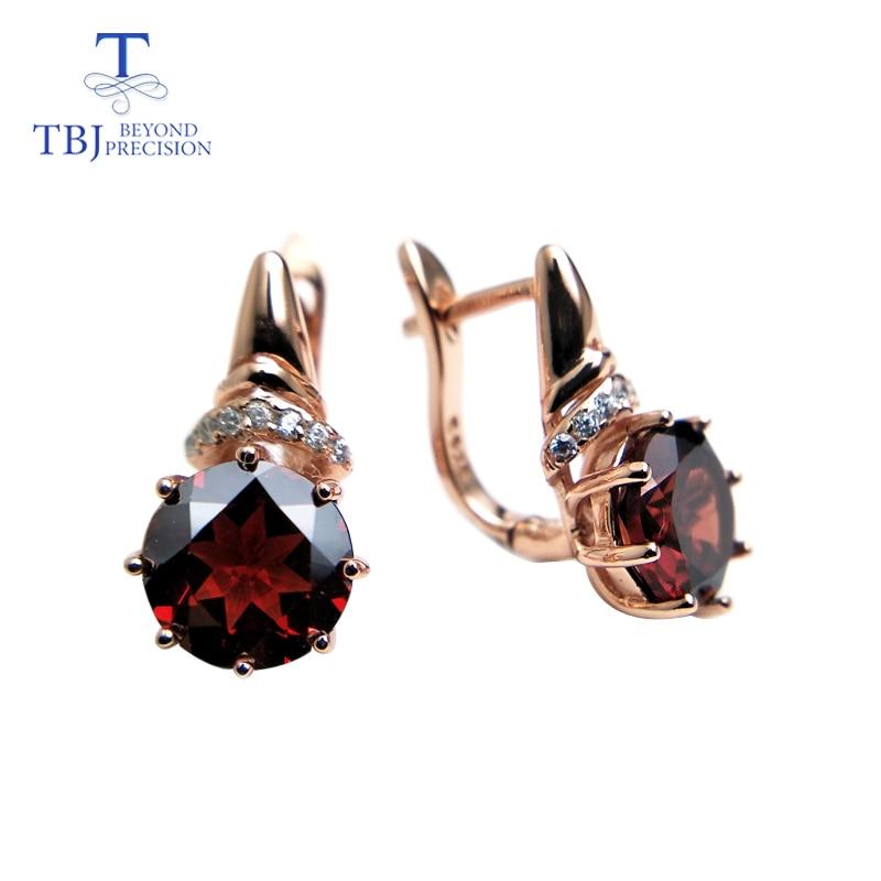 TBJ,natural red garnet round 8.0mm shape design earring rose color in 925 sterling silver gemstone jewelry,simple design earring hermosa jewelry hot multi color round design 925 sterling silver fashion earring st81