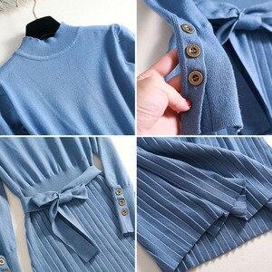 Image 5 - 2019 autumn winter maxi sweater dress women long sleeve loose female long sweater dress with belt elegant a line button dress