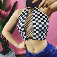 New Sexy Women Fish Net Patchwork Short Crop Tank Tops Female Mesh Hollow Out Backless Halter