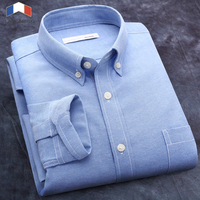 Free Shipping 2014 New Men Spring Autumn Shirts Solid Color Long Sleeve Dress Shirts Oxford Casual