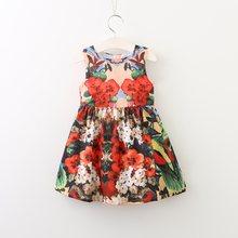 f63925691c Baby Girls Summer Dress Robe Fille 2017 Brand Children Dress Kids Clothing  Flower Print Princess Costume Girls Dresses Vestidos