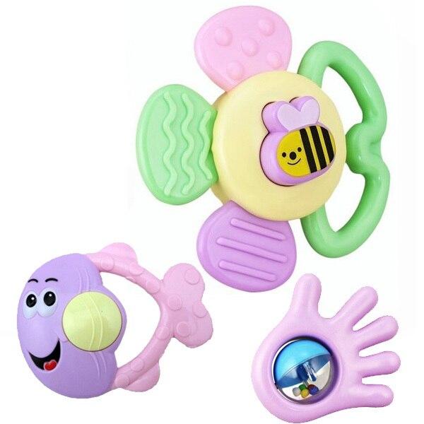 Купить с кэшбэком 9 PCS Mixed in Box Baby Rattles Teether Set Early Development Toys 0-12 Months