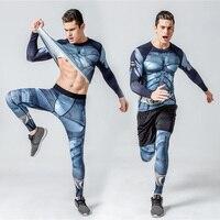 Crossfit Fitness Set Long Sleeve T Shirt Men Tights For Men Thermal Underwear Rashgard Kit Compression
