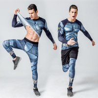 Crossfit Fitness Set Long Sleeve T Shirt Men Tights For Men Thermal Underwear Rashgard Kit Compression