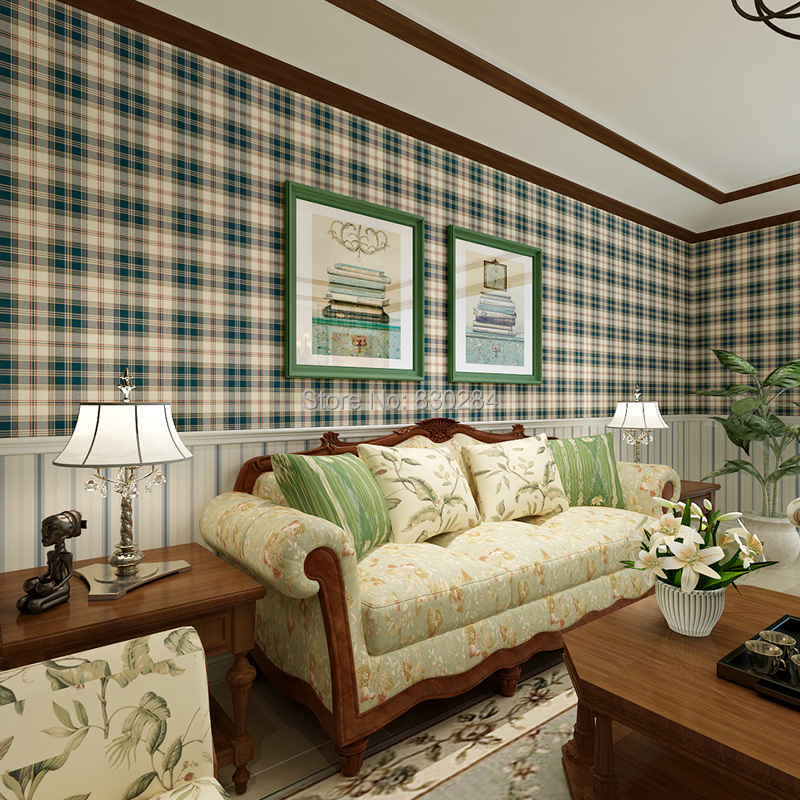 Country Style Scottish Plaid Wallpapers Vintage Pure Paper Wall Paper for Living Room Grid Wallpaper for