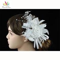 Groothandel Bruidsmeisje Bridal Prom Tovenaar White Feather Handgemaakte Haar Bloem CT1631