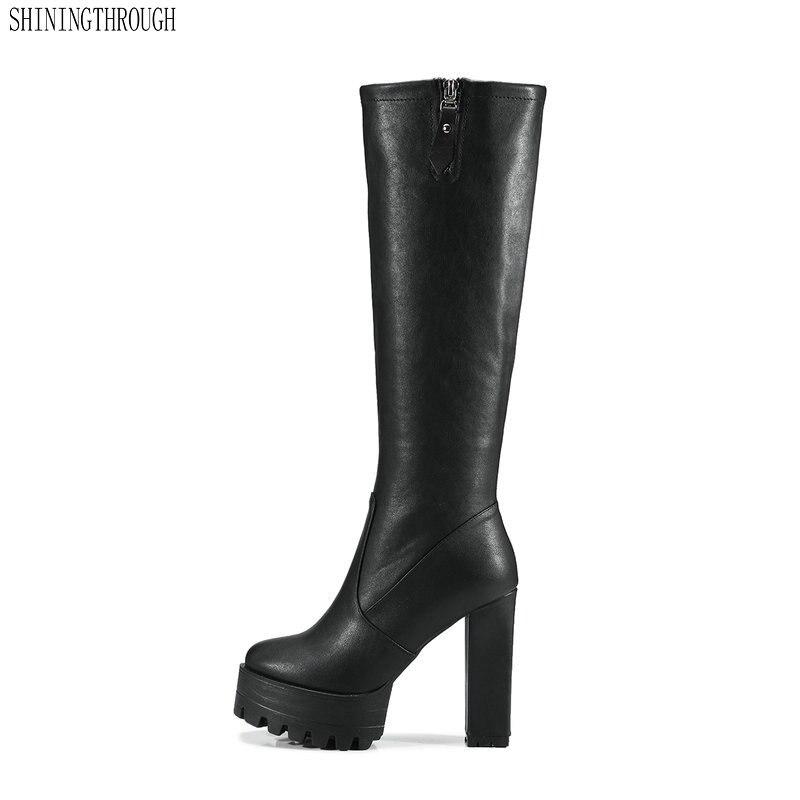 2019 Frauen Super High Heels Knie Hohe Stiefel Kuh Leder Kleid Schuhe Frau Plattform Frühling Herbst Winter Damen Stiefel Größe 41 42